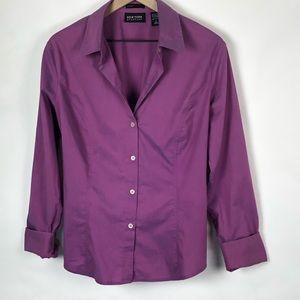 🦋Button-Down Shirt Purple stretch sz Large